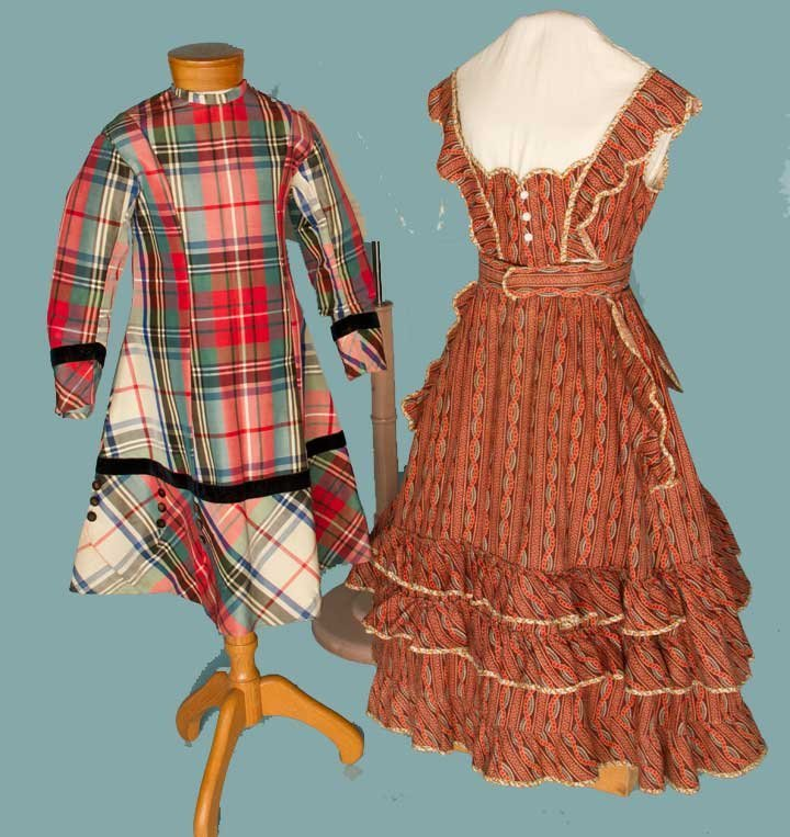 21: TWO GIRLS' BUSTLE DRESSES, 1860-1870s