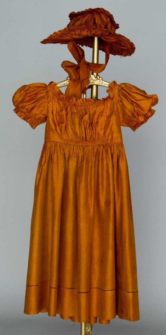 CHILD'S SILK DRESS & HAT, 1825-1830