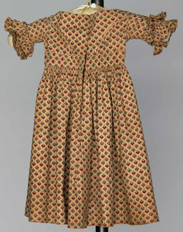 TODDLER'S COTTON CALICO DRESS, 1838-1840