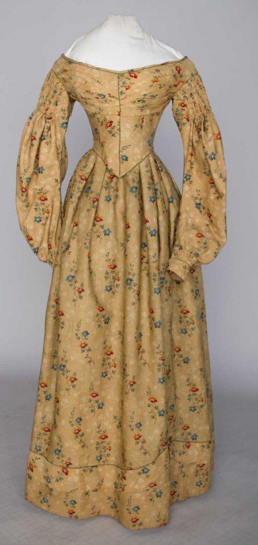 PRINTED WOOL DAY DRESS, c. 1838