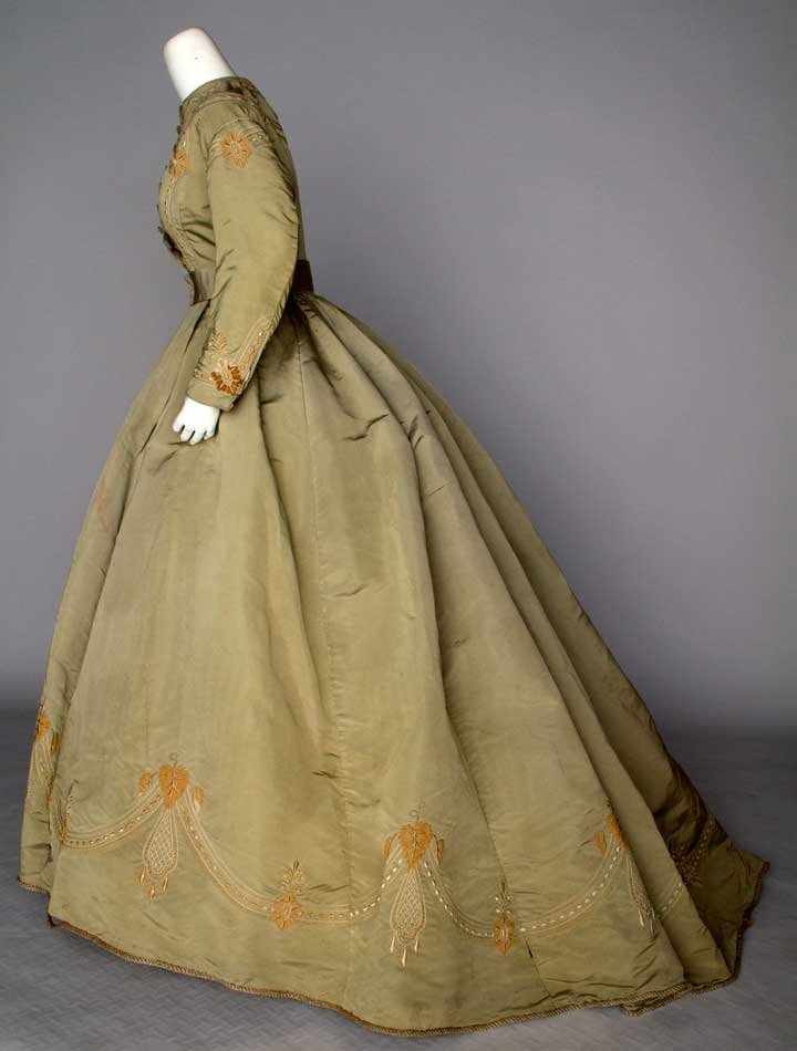 EMBROIDERED SILK DAY DRESS, c. 1865