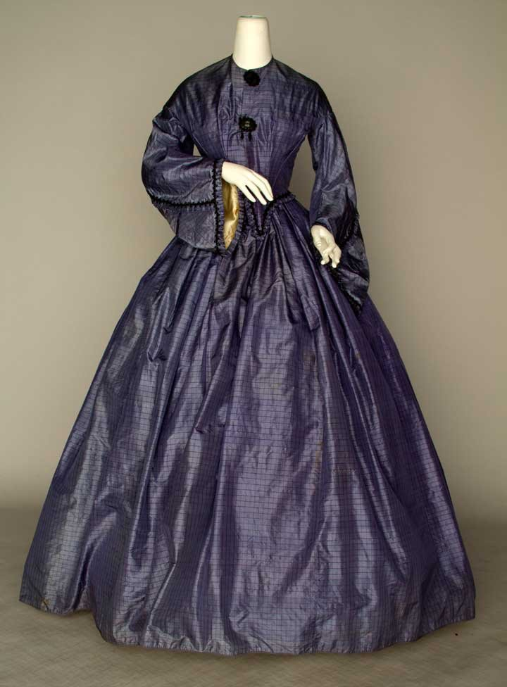 BLUE SILK WEDDING DRESS, 1864