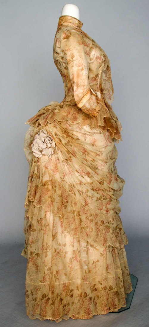 PRINTED TULLE BUSTLE DRESS, NYC, 1886