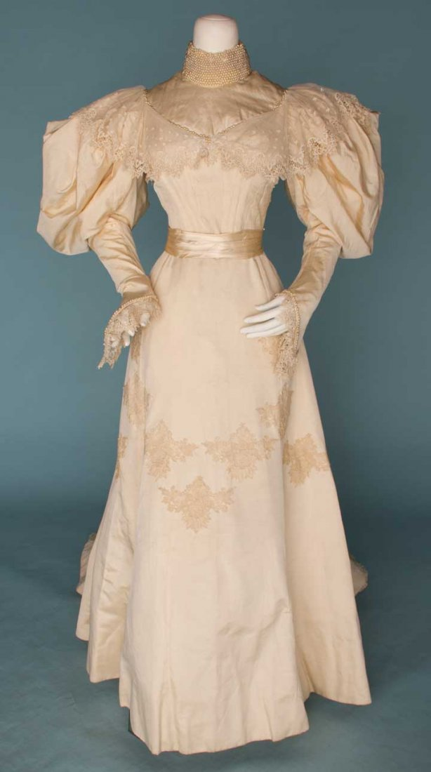 SILK & LACE WEDDING GOWN, 1895