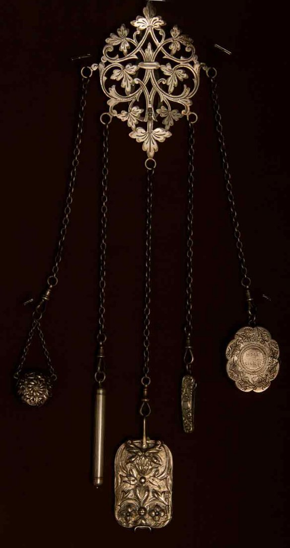 STERLING SILVER CHATELAINE, EUROPE, LATE 19TH C