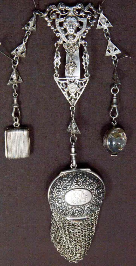 STERLING CHATELAINE, ENGLAND, LATE 19TH C