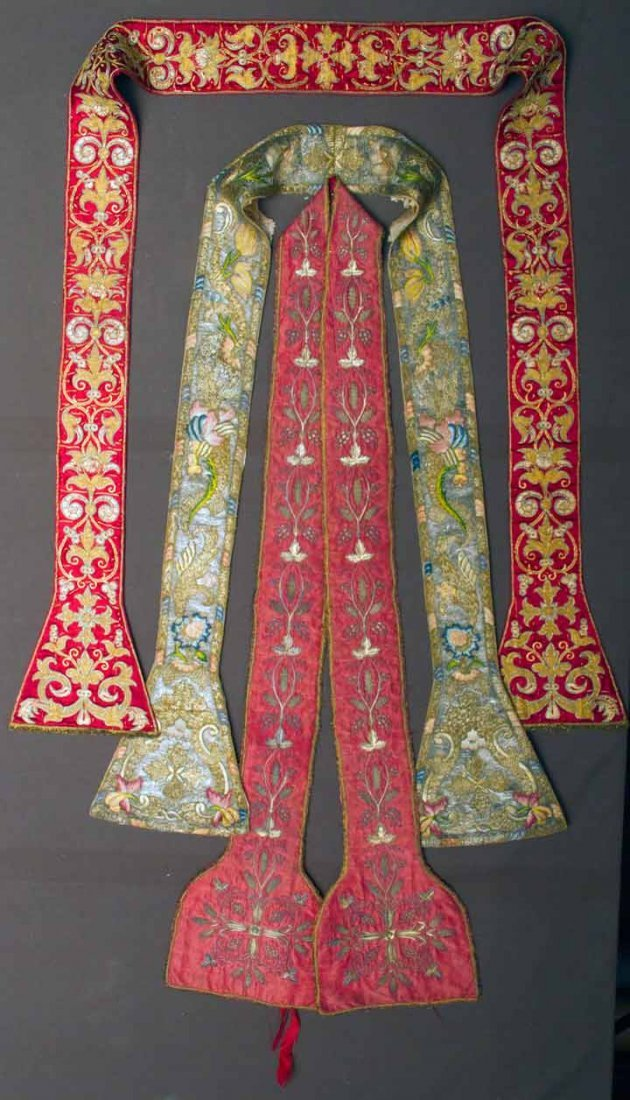 THREE EMBROIDERED MANIPLES, 18TH C