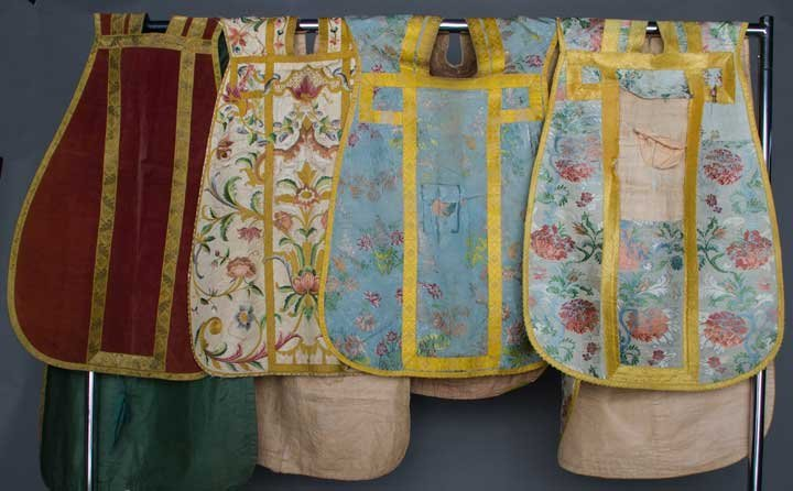 FOUR CHASUBLES, EUROPE, 18TH C