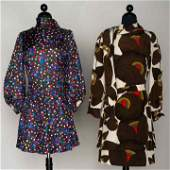 TWO PIERRE CARDIN SILK DRESSES, c. 1970