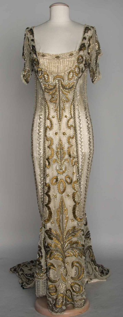 GOLD BEADED BALL GOWN, c. 1908