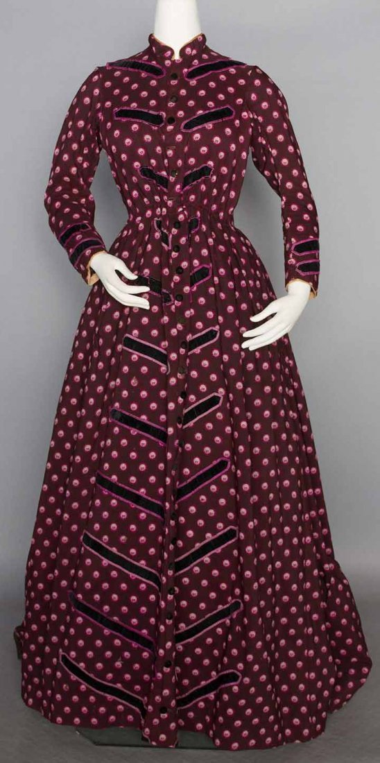 PRINTED WOOL MATERNITY DRESS, 1860s