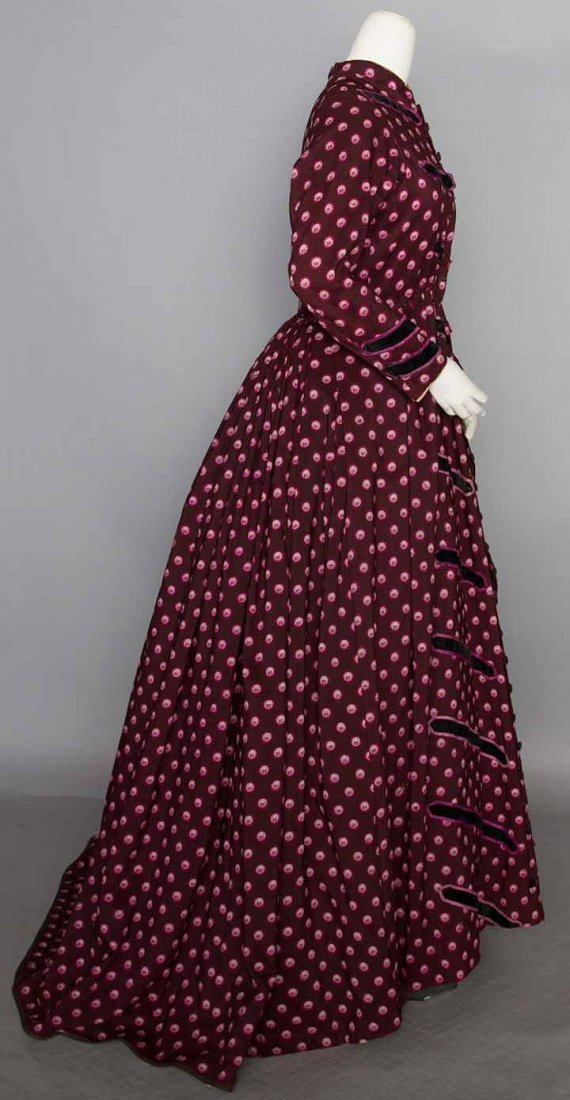 PRINTED WOOL MATERNITY DRESS, 1860s - 2