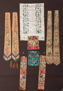 SIX EMBROIDERED ACCESSORIES, CHINA, 1900