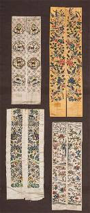 FOUR PAIR EMBROIDERED SLEEVE BANDS, CHINA