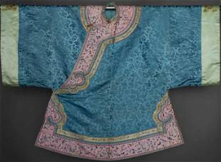 EMBROIDERED BLUE ROBE, CHINA, c. 1900