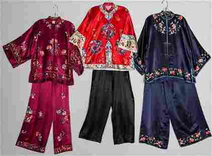 THREE EMBROIDERED OUTFITS, CHINA, c. 1950
