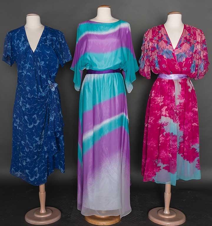 THREE HANAE MORI DAY DRESSES, 1980-1990