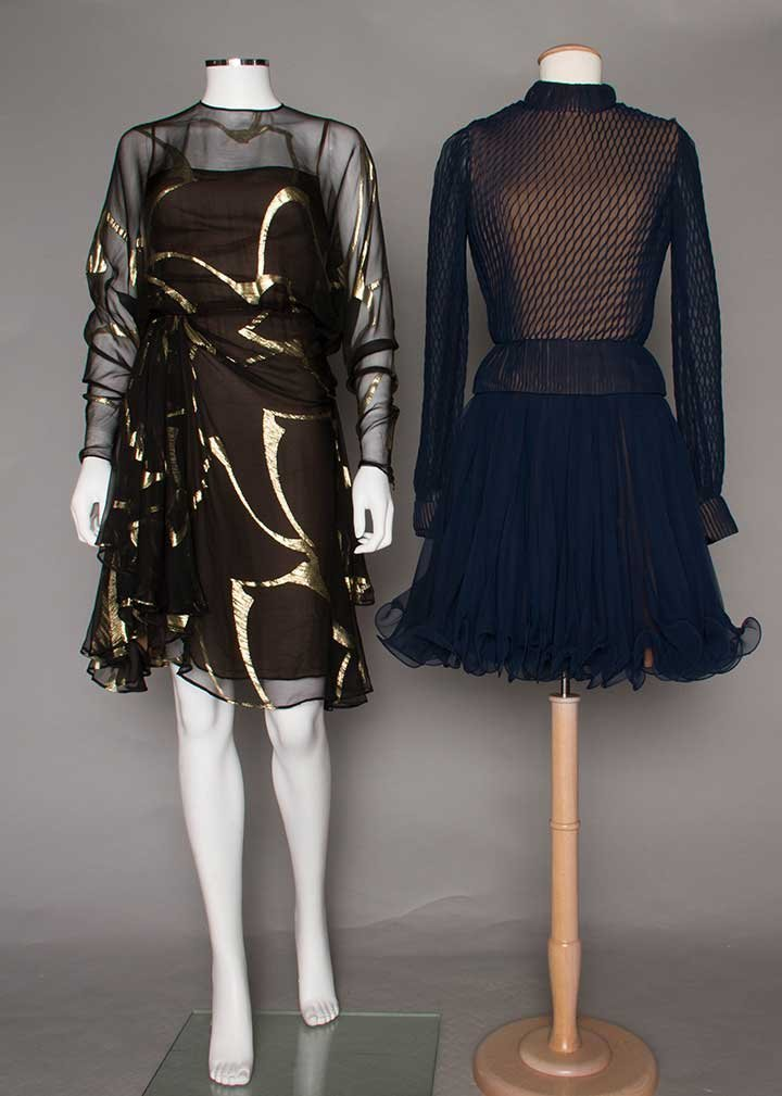 TWO CHIFFON COCKTAIL DRESSES, 1980-1990s