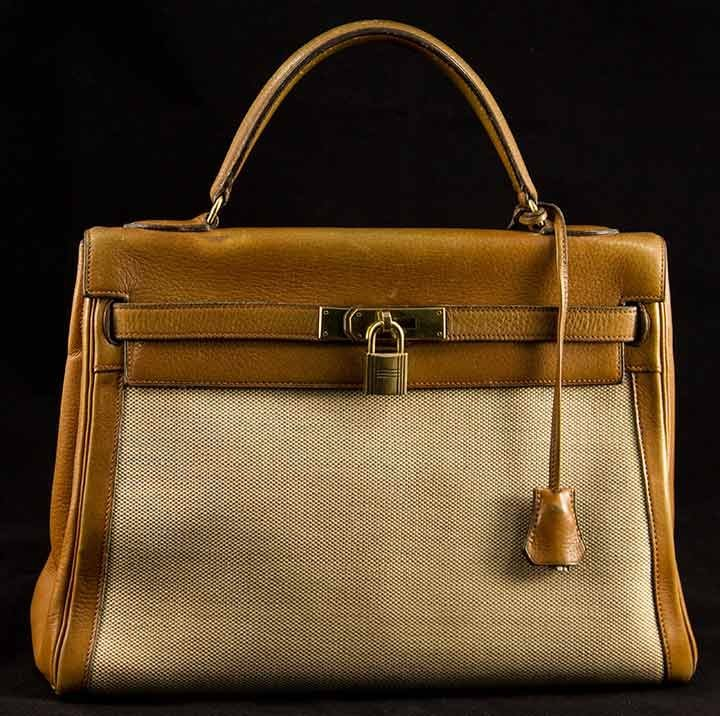 HERMES CANVAS & LEATHER KELLY BAG, 1960s
