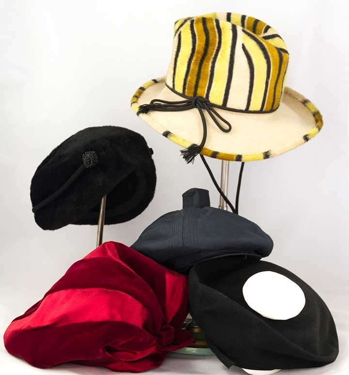 FIVE DESIGNER HATS, 1950-1970