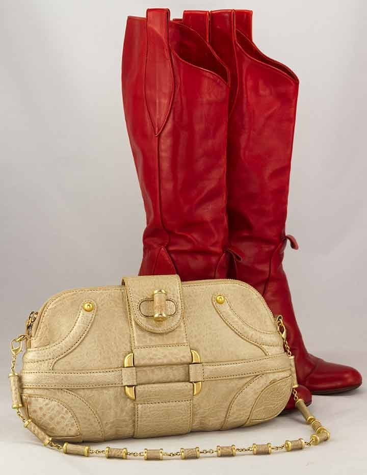 ALEXANDER McQUEEN BOOTS & HANDBAG, EARLY 2000s