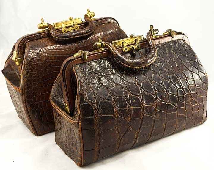 TWO DOCTORS' ALLIGATORS BAGS, 19TH C