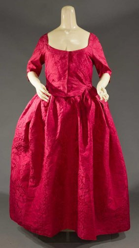 CHERRY SILK ROBE A L'ANGLAISE, 1760-1780