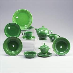 14 assorted FIESTA medium green pieces: a