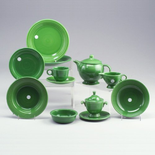 1: 14 assorted FIESTA medium green pieces: a