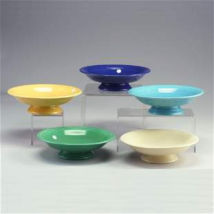 5 FIESTA 12 1/2² footed bowls in ivory, tu