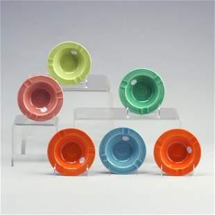 6 FIESTA 5 1/4² ashtrays in turquoise, ro