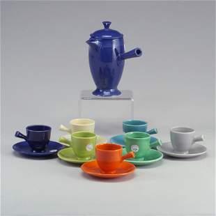7 FIESTA demitasses + coffee pot, the cup