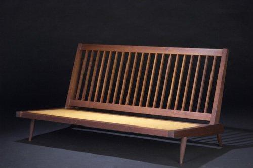 2: GEORGE NAKASHIMA Walnut settee with fabric upholster
