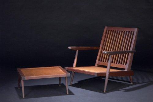 3: GEORGE NAKASHIMA Walnut Cushion Chair with arms, and