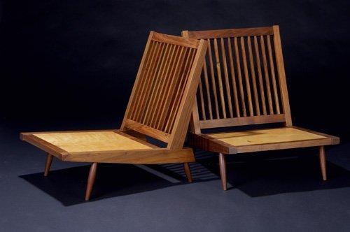 4: GEORGE NAKASHIMA Pair of walnut Cushion Chairs with