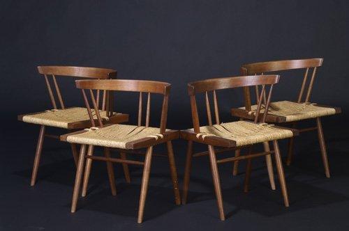 9: GEORGE NAKASHIMA Set of four walnut Grass Seated cha