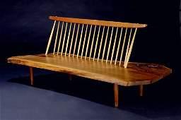 10: GEORGE NAKASHIMA Walnut Conoid Bench with Back, a b