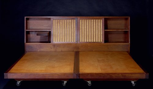 11: GEORGE NAKASHIMA King-size walnut Storage Headboard