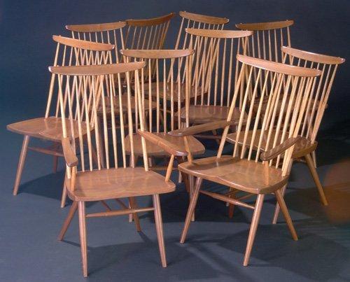 21: GEORGE NAKASHIMA Set of ten walnut New chairs, two