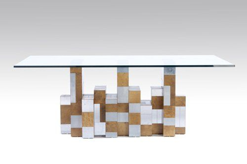 192: PAUL EVANS Cityscape dining table with plate glass