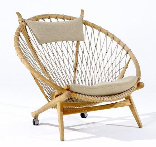 246: HANS WEGNER / PP MOBLER Oak Hoop chair with woven