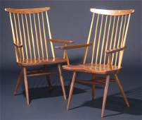 543: GEORGE NAKASHIMA Pair of walnut New chairs with ar
