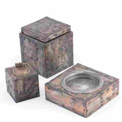 1008: PAUL EVANS Copper, bronze and pewter patchwork th