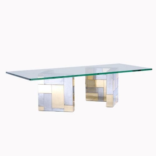 1013: PAUL EVANS Cityscape coffee table with plate glas