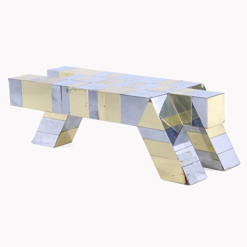 1015: PAUL EVANS Cityscape quadruped-shaped coffee tabl