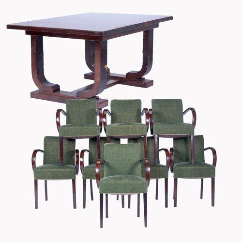 1427: E. JACQUEMIN Rosewood veneer extension dining