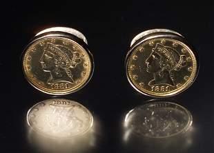 FIVE DOLLAR GOLD COIN CUFFLINKS
