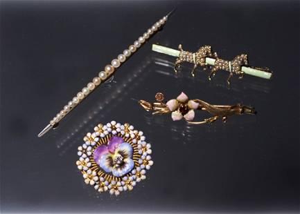 4 VICTORIAN PINS - CELADON,HORSES,FLOWER