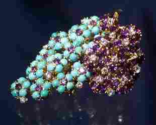 18K TURQUOISE AMYTHEST DIAMOND BROOCH
