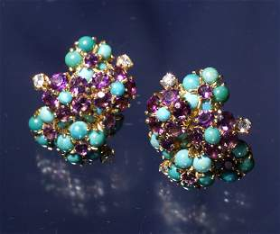 TURQUOISE AMYTHEST DIAMOND EARRINGS IN